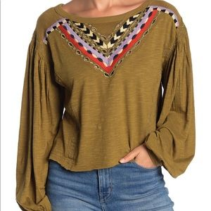 NWT Free People embroidered long sleeve top